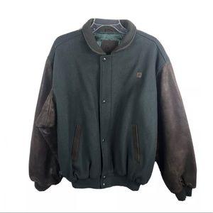 GOLDEN BEAR Wool Varsity Jacket w Leather Sleeves